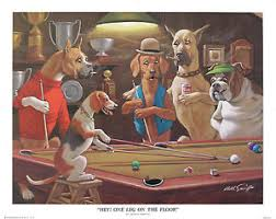 Dogs playing snooker